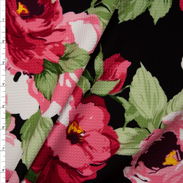 Large Pink Floral on Black Bullet Liverpool Knit Fabric By The Yard