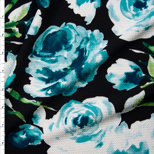 Aqua Watercolor Roses on Black Bullet Liverpool Knit Fabric By The Yard