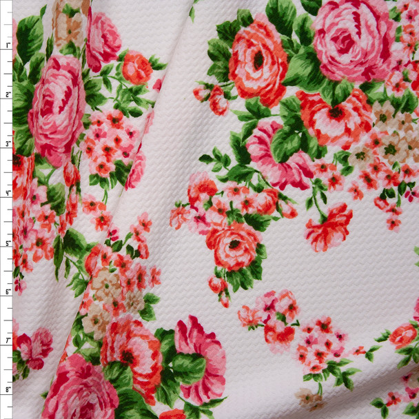 Pink, Coral, and Green Rose Floral on White Bullet Liverpool Knit Fabric By The Yard