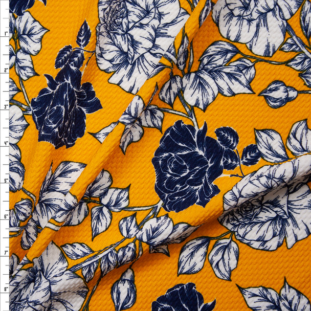 White and Navy Sketchbook Floral on Goldenrod Bullet Liverpool Knit Fabric By The Yard
