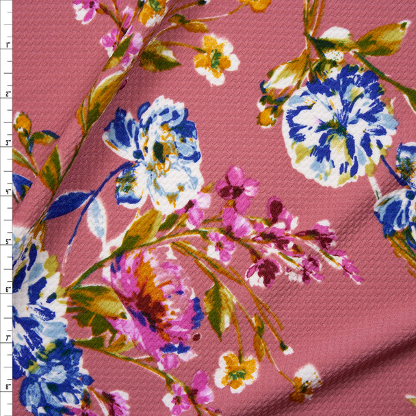 Hot Pink, Light Blue, and Mustard Floral on Mauve Bullet Liverpool Knit Fabric By The Yard
