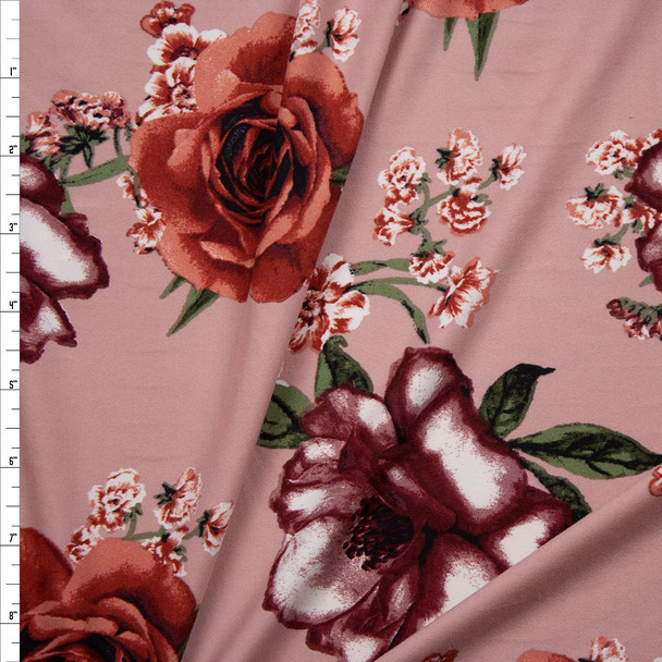 Wine and Terracotta Flowers on Dusty Blush Double Brushed Poly/Spandex Fabric By The Yard