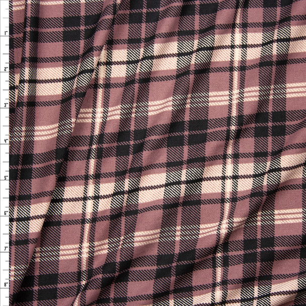 Mauve, Ivory, and Black Plaid Double Brushed Poly/Spandex Fabric By The Yard