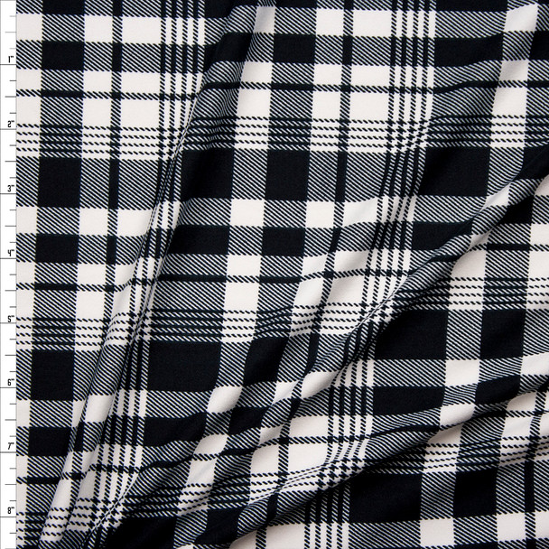 Black and White Plaid Double Brushed Poly/Spandex Fabric By The Yard