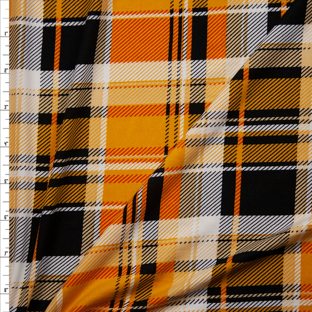 Goldenrod, Orange, Black, and White Plaid Double Brushed Poly/Spandex Fabric By The Yard
