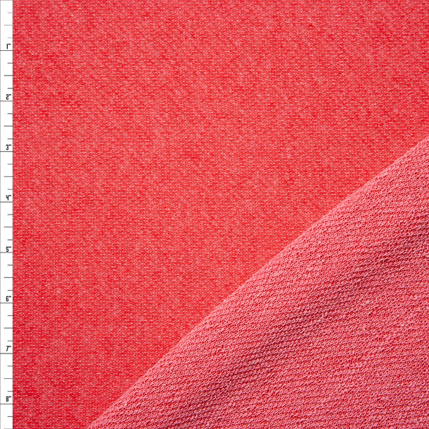 Bright Coral Textured Midweight French Terry Fabric By The Yard