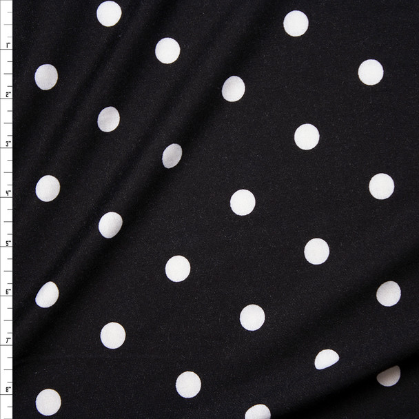 White on Black Polka Dots Poly/Rayon French Terry Fabric By The Yard