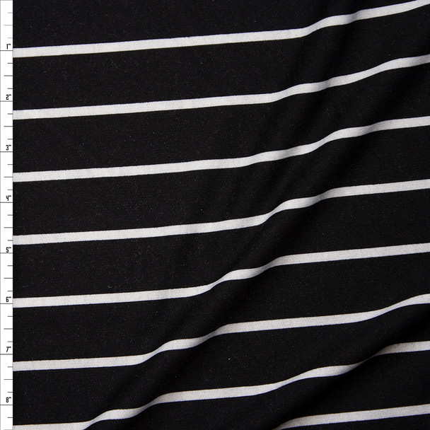 White on Black Vertical Pencil Stripe Poly/Rayon French Terry Fabric By The Yard