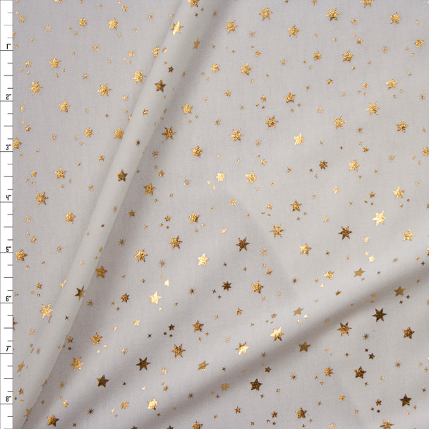 Metallic Gold Stars on Offwhite Poly/Rayon French Terry Fabric By The Yard