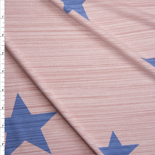 Blue Stars on Pink Stretch Streak Textured Knit Fabric By The Yard