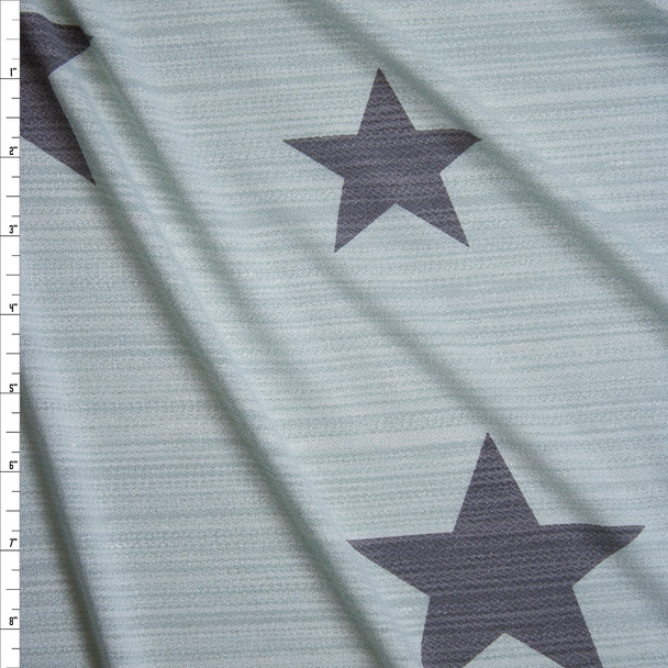 Charcoal Stars on Aqua Stretch Streak Textured Knit Fabric By The Yard