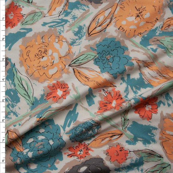 """Paper Flowers Parchment"" Cotton Spandex Knit from Art Gallery Fabrics Fabric By The Yard"