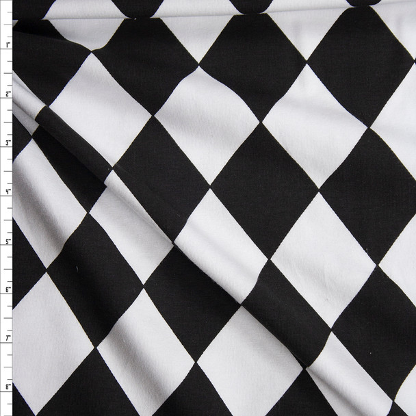 Black and White Harlequin Diamonds Cotton Spandex Knit Fabric By The Yard