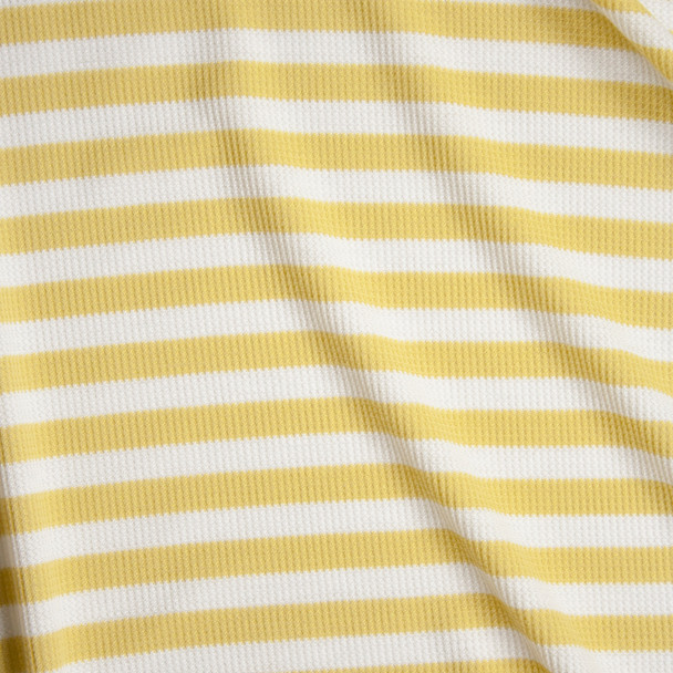White and Yellow Stripe Rayon Micro Waffle Knit Fabric By The Yard