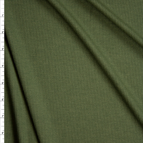 Olive Rayon Micro Waffle Knit Fabric By The Yard