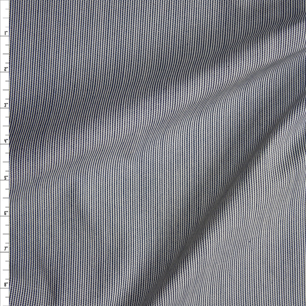 Blue and White Fine Vertical Stripe Midweight Stretch Denim Fabric By The Yard