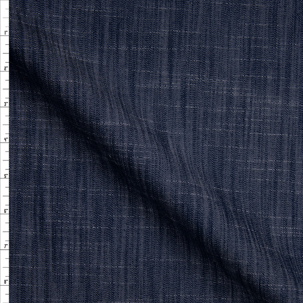 Dark Blue Midweight Textured Denim Fabric By The Yard