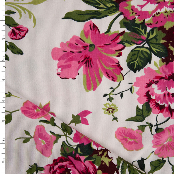 Pink and Olive Floral on Warm White Baby Wale Corduroy Fabric By The Yard