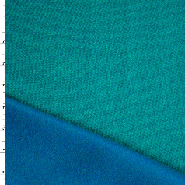Bright Jade with Bright Blue Back Soft Midweight Sweatshirt Fleece Fabric By The Yard