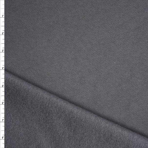 Charcoal Soft Midweight Sweatshirt Fleece Fabric By The Yard