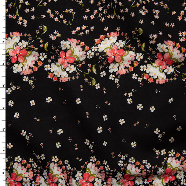 Pink and Ivory Floral Border Print Rayon Challis Fabric By The Yard