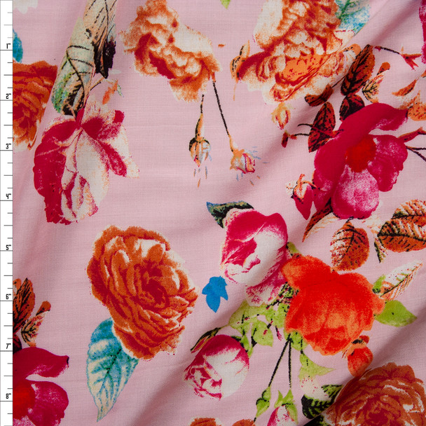 Vibrant Floral on Light Pink Rayon Challis Fabric By The Yard