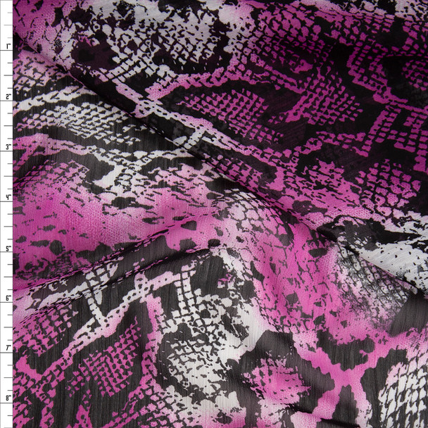 Hot Pink, White, and Black Snakeskin Crinkle Georgette Fabric By The Yard