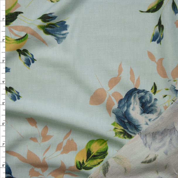 Blue and Tan Floral on Soft Aqua Light Midweight French Terry Fabric By The Yard