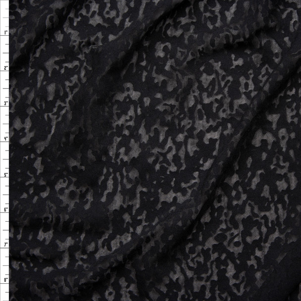 Black Burnout Jersey Knit Fabric By The Yard