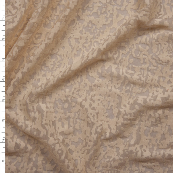 Tan Burnout Jersey Knit Fabric By The Yard