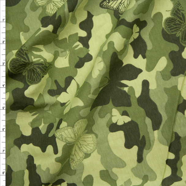 Green Camouflage with Butterflies Cotton Jersey Knit Fabric By The Yard