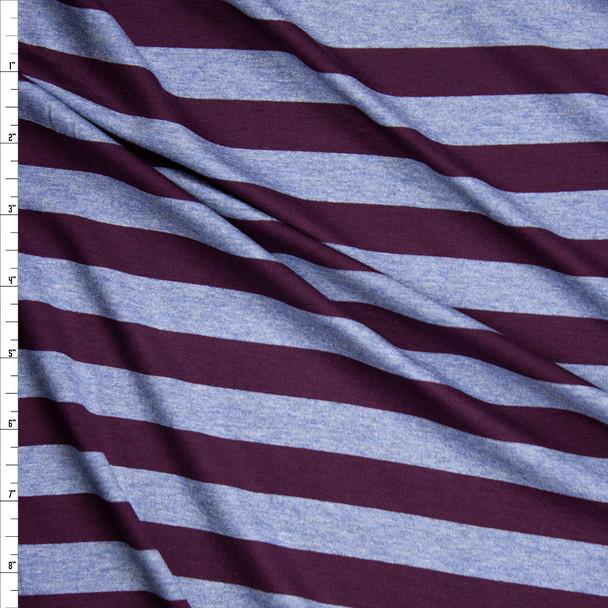 Plum and Slate Blue Horizontal Stripe Stretch Modal Jersey Fabric By The Yard