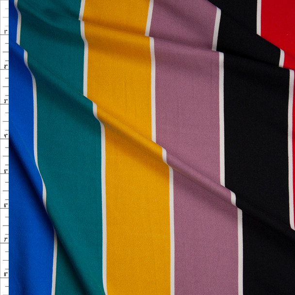 Black, Red, Blue, Jade, Mustard, and Mauve Vertical Stripe Double Brushed Poly Spandex Knit Fabric By The Yard