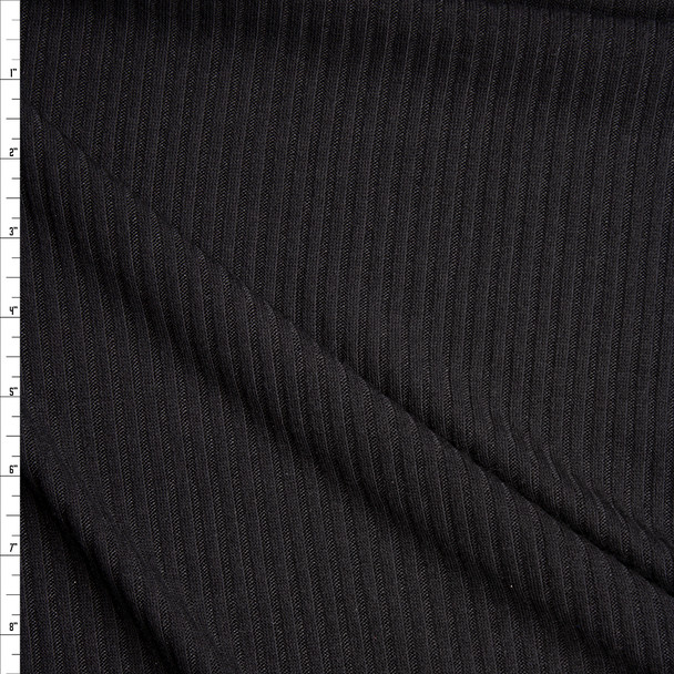 Black Soft Midweight Ribbed Sweater Knit Fabric By The Yard