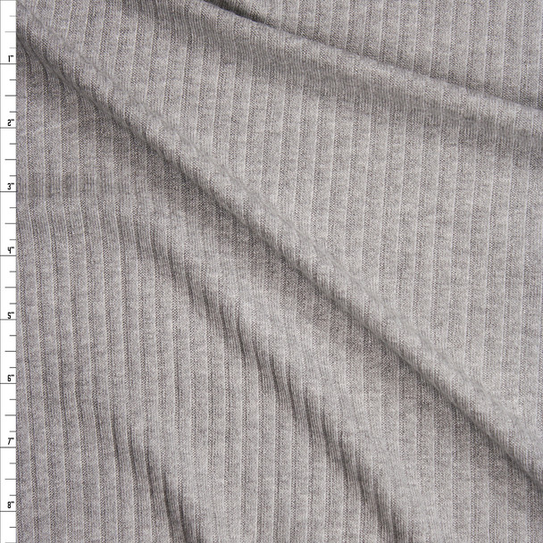Heather Grey Soft Midweight Ribbed Sweater Knit Fabric By The Yard
