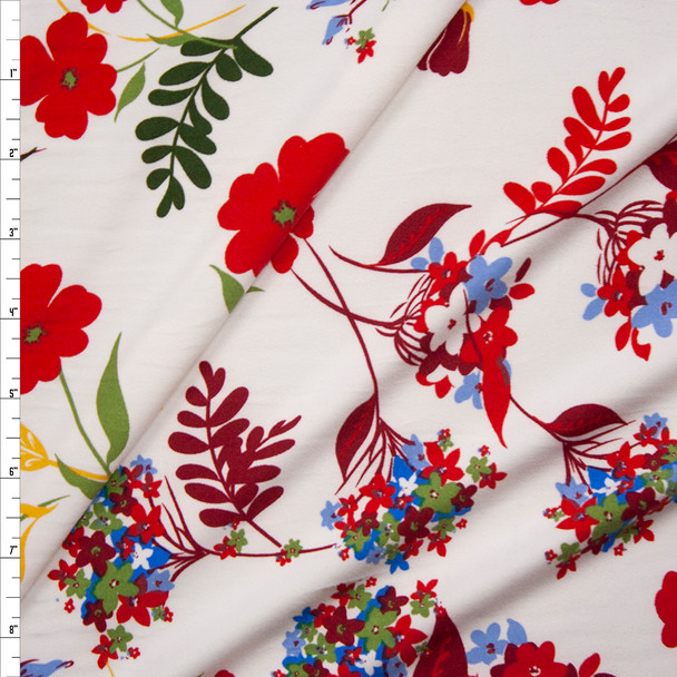 Red, Yellow, Green, and Blue Flowers on Ivory Double Brushed Poly Spandex Knit Fabric By The Yard