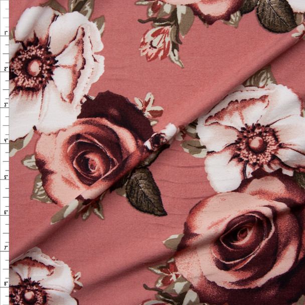 Terracotta and Tan Floral on Mauve Double Brushed Poly Spandex Knit Fabric By The Yard