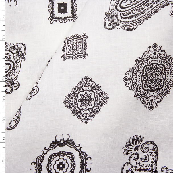 Black Paisleys and Medallions on Warm White Midweight Linen Fabric By The Yard