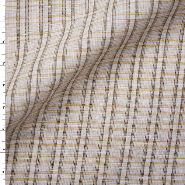 Ivory and Brown Plaid Midweight Linen Fabric By The Yard