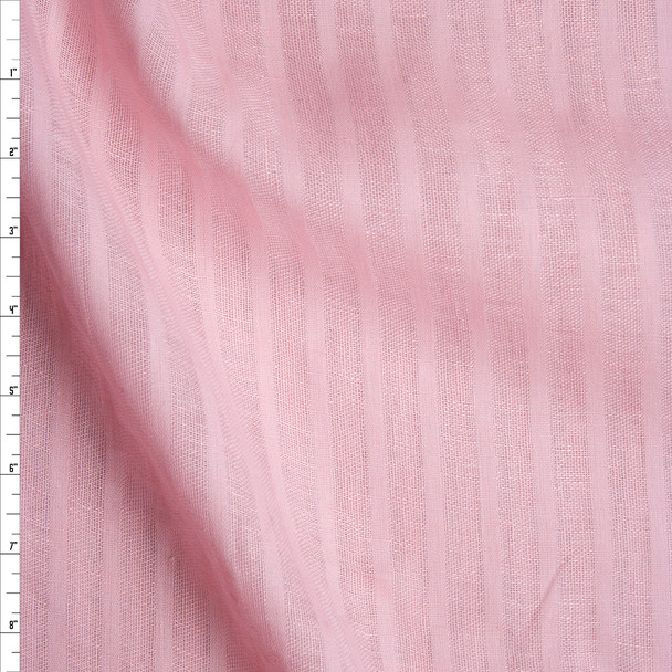 Pink on Pink Vertical Pencil Sheer Stripe Lightweight Linen Fabric By The Yard