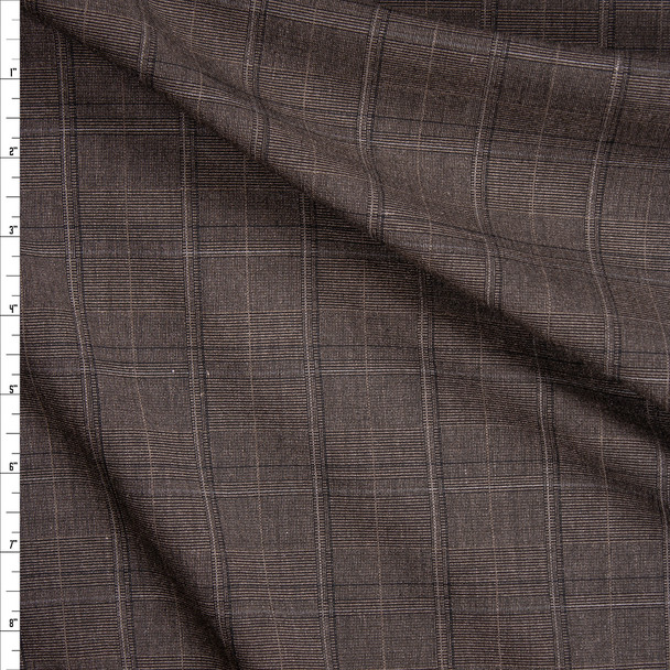 Brown, Tan, and Black Plaid Suiting Fabric By The Yard
