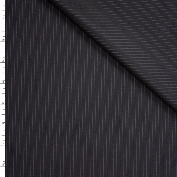 White on Black Narrow Pinstripe Suiting Fabric By The Yard