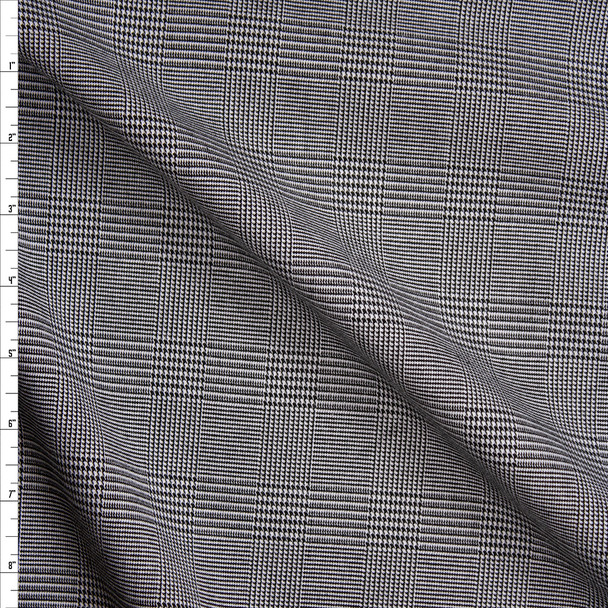 Black and White Houndstooth Plaid Suiting Fabric By The Yard