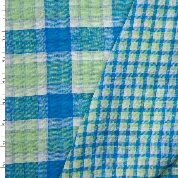 Lime, Turquoise, and White Reversible Plaid Cotton Double Gauze Fabric By The Yard