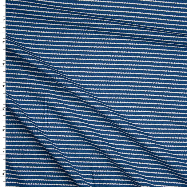 White on Blue Horizontal Messy Stripe Stretch Jersey Knit Fabric By The Yard