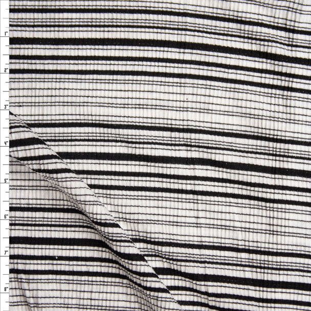 Black and White Horizontal Barcode Stripe Lightweight Stretch Ribbed Jersey Fabric By The Yard