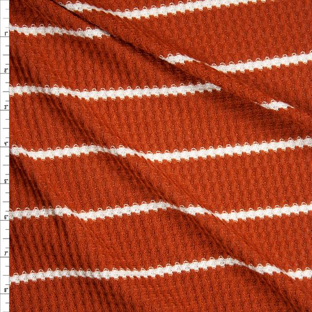 White on Rust Horizontal Stripe Soft Waffle Knit Fabric By The Yard