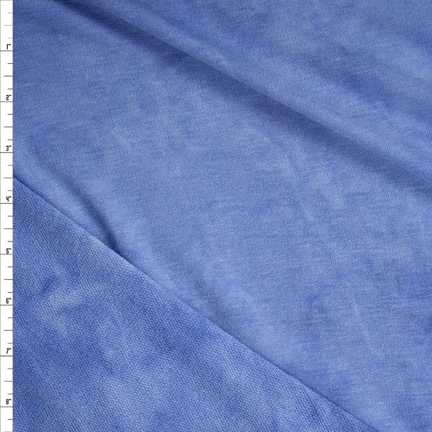 Light Blue Tie Dye Soft Rayon French Terry Fabric By The Yard
