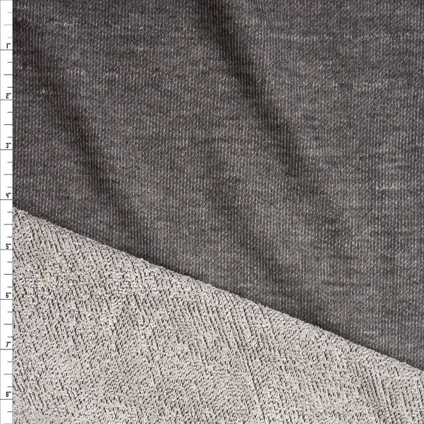 Charcoal Heather Grey Midweight Soft French Terry Fabric By The Yard