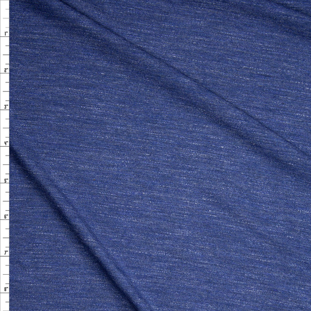 Denim Blue Heather Stretch Closeout Cotton Jersey Knit Fabric By The Yard